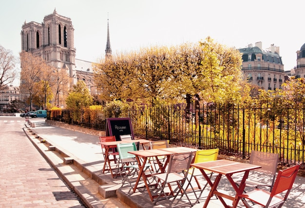 An outdoor cafe next to notre dame cathedral in paris Premium Photo