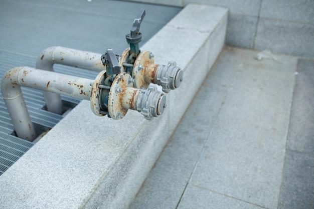 Outdoor main water shut off valve system compose of brass plumbi Premium Photo