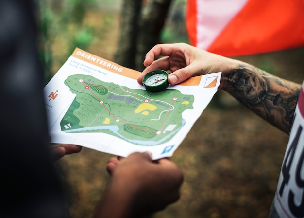 Outdoor orienteering check point activity Free Photo