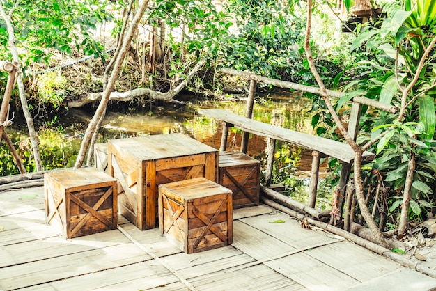 Outdoor patio chair and table Premium Photo