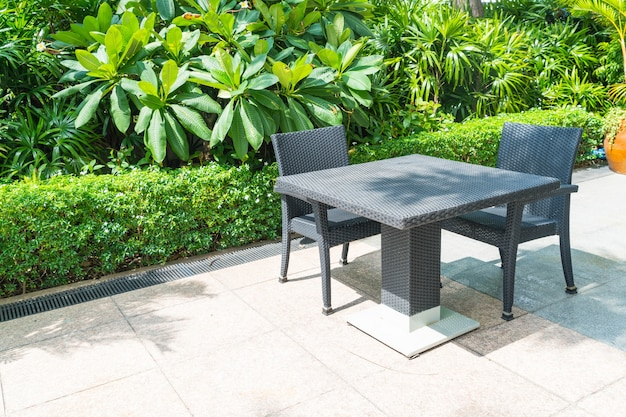 Outdoor patio with  chair and table Free Photo