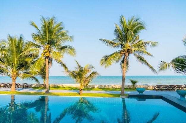 Outdoor swimming pool in hotel and resort Free Photo