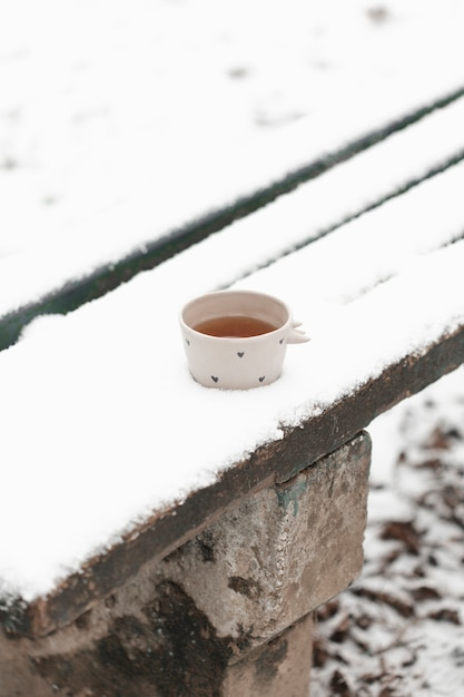 Outdoors cup of tea in the winter high view Free Photo
