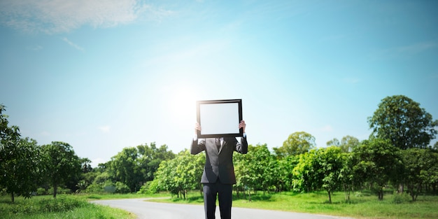 Outdoors green frame nature business person work Premium Photo
