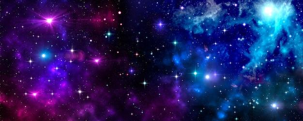 Outer space, universe, nebula, stars, star cluster, blue, purple Premium Photo