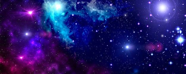 우주, 우주, 성운, 별, 성단, 파란색, 보라색 프리미엄 사진