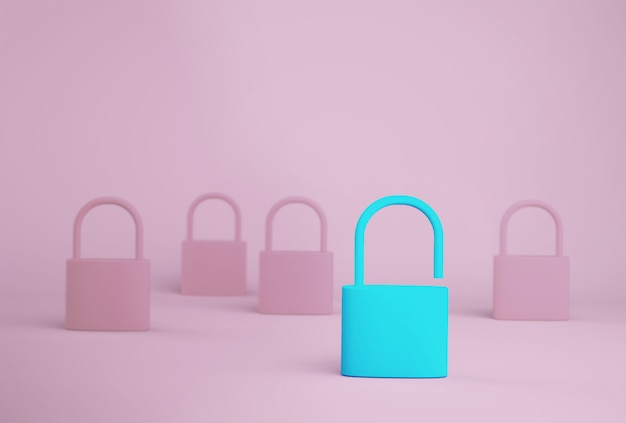 Outstanding blue key unlock standing one different from the others on blue background. successful business team leader concept. Premium Photo