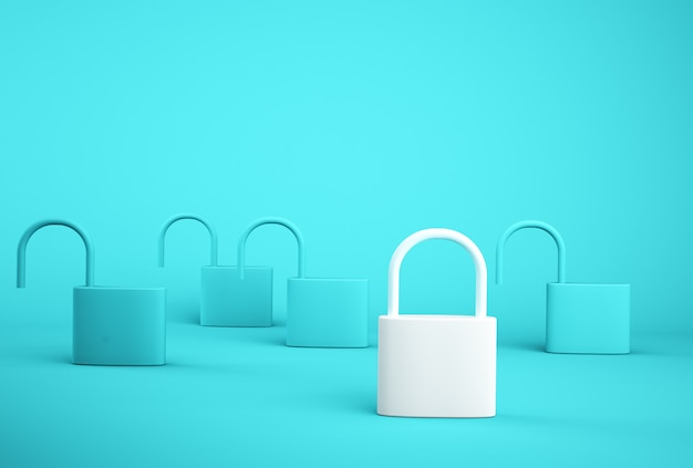 Outstanding white key lock standing one different from the others on blue background. successful business team leader . Premium Photo