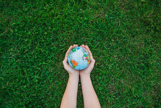 An overhead's view of hands holding globe over green grass Premium Photo