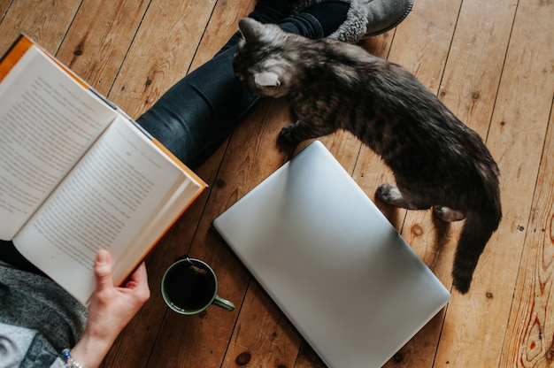 Overhead shot of a fluffy cat, female reading a book, laptop and a cup of tea on the floor Free Photo