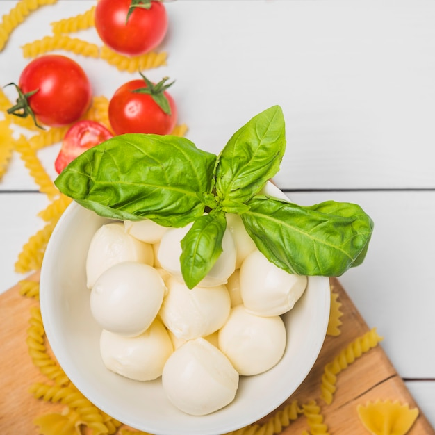 An overhead view of italian mozzarella cheese with basil leaf; tomatoes and fusilli pasta Free Photo