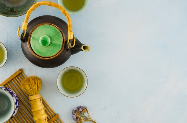 An overhead view of traditional chinese teaware with brush on white background Free Photo