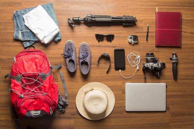Overhead view of traveler's accessories concept background Premium Photo