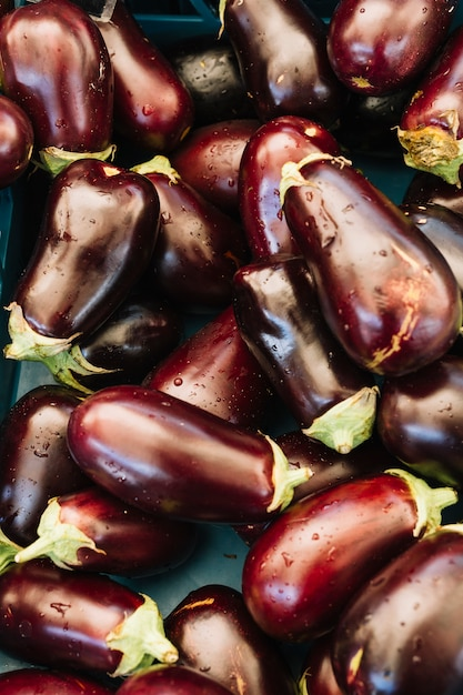 An overhead view of water droplets on fresh organic eggplants Free Photo