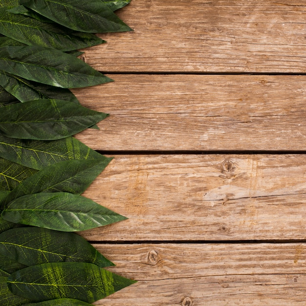 Overhead of wooden planks background with border leaves and copy space Free Photo