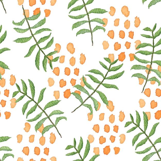 Перекрытый акварельный бесшовный образец с беспорядком из зеленых листьев и оранжевых капель Premium Фотографии