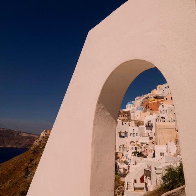 Overview of buildings in santorini greece Premium Photo