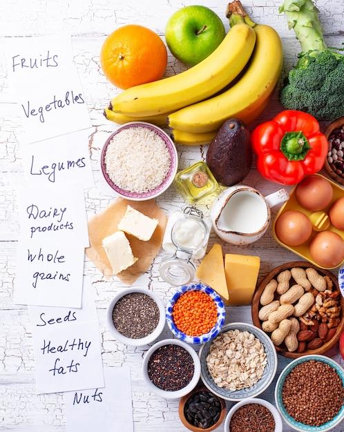 Ово-лакто-вегетарианская концепция здорового питания. Premium Фотографии