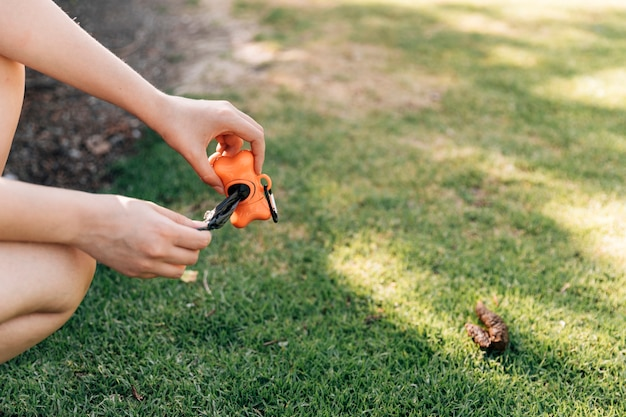Owner clearing dog mess with pooper scooper Free Photo