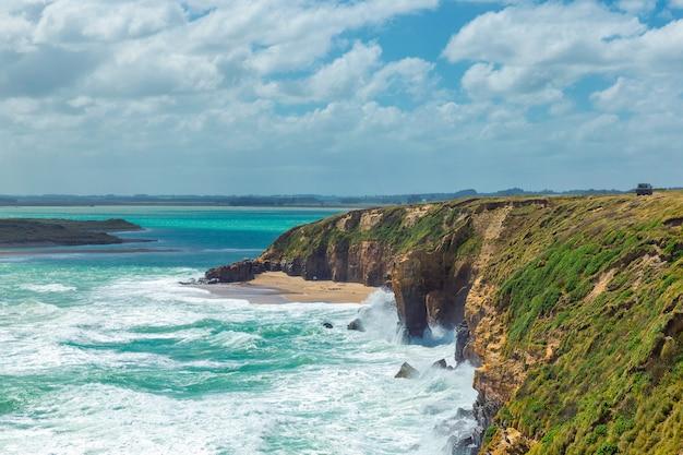 ニュージーランドのオタゴで崖を砕く太平洋の波 Premium写真
