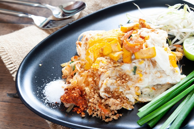 pad thai or stir-fried noodles with shrimp and egg on