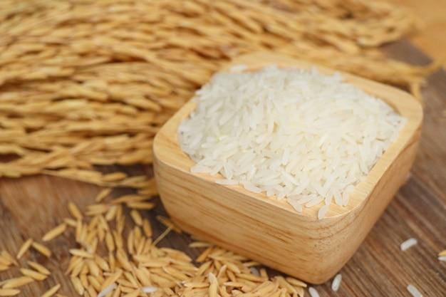 Paddy and white rice Premium Photo