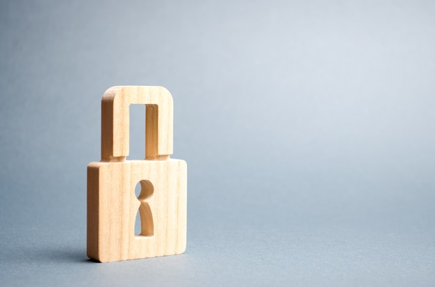 A padlock on gray. information safety Premium Photo