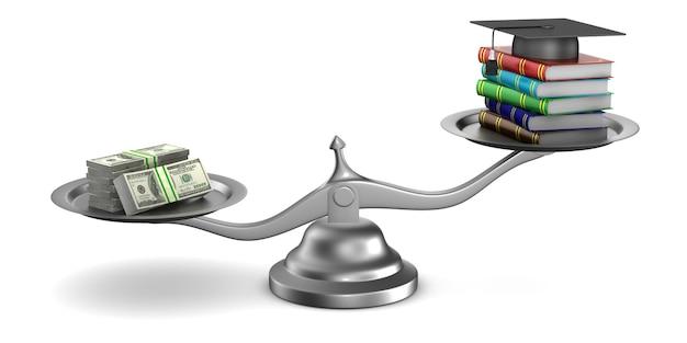 Платное образование на белом. изолированные 3d иллюстрации Premium Фотографии