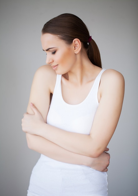 Pain stomach. woman having painful stomachache,female suffering from abdominal pain Premium Photo