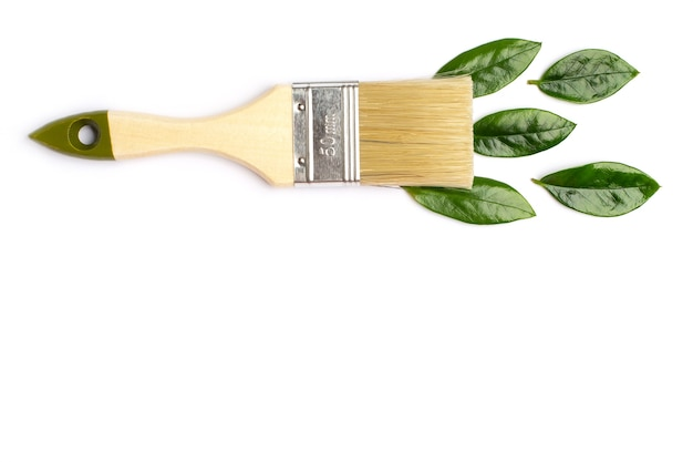 Paint brush with green leaves on white Premium Photo