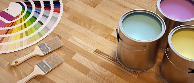Paint shop banner. composition with brushes, color chart and paint containers. Premium Photo