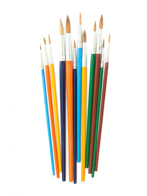 Paintbrush on white background in top view Premium Photo
