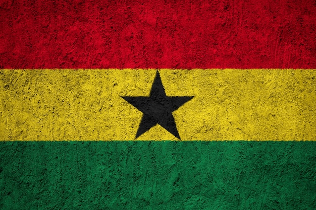 Painted national flag of ghana on a concrete wall Premium Photo