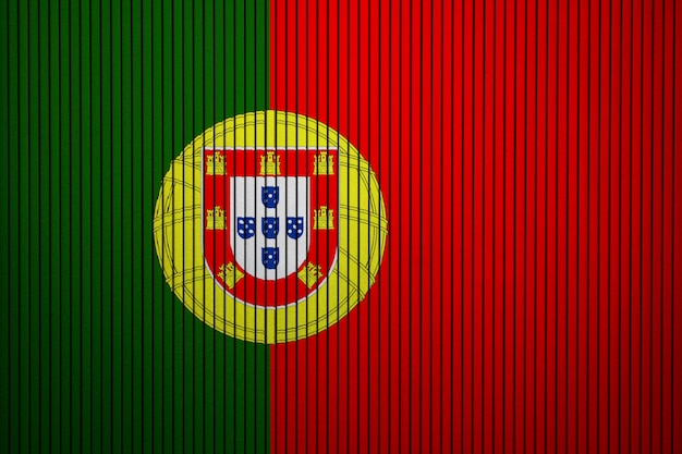 Painted national flag of portugal on a concrete wall Premium Photo