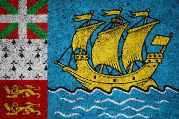 Painted national flag of saint pierre and miquelon on a concrete wall Premium Photo