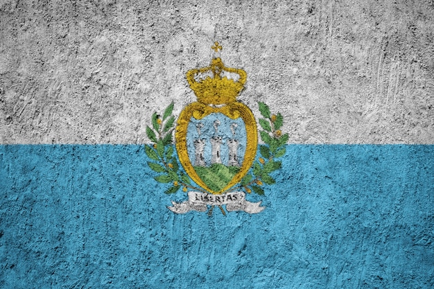 Painted national flag of san marino on a concrete wall Premium Photo