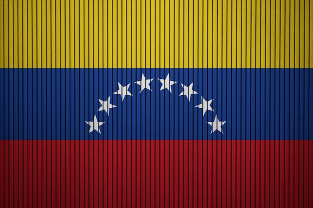 Painted national flag of venezuela on a concrete wall Premium Photo