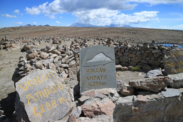 Painted stones showing the directions of the surrounding volcanoes, the view point along pata pampa pass, arequipa, peru Premium Photo