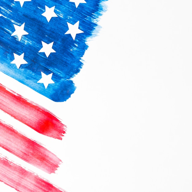 Painted usa flag isolated on white backdrop Free Photo