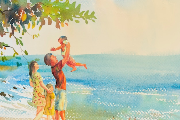 Painting colorful of beach and family in emotion cloud background. Premium Photo