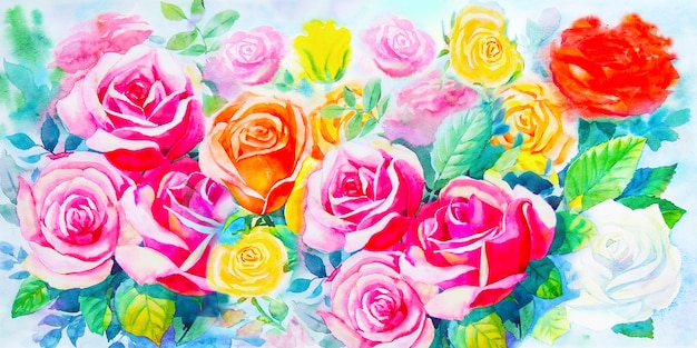 Painting  colorful bunch of roses in the garden Premium Photo