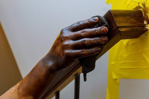 Painting wooden railings on the coating Premium Photo