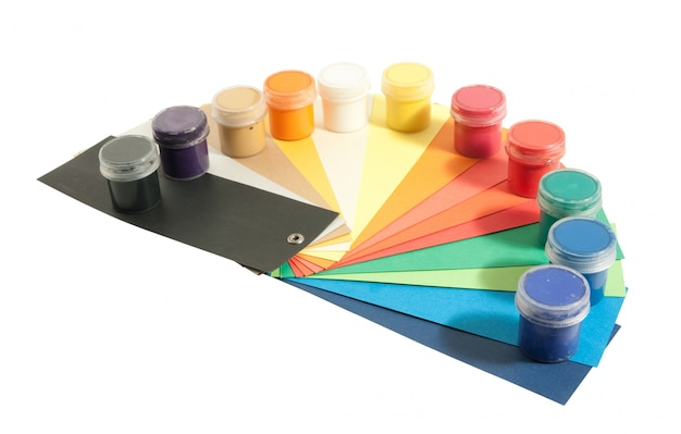 Paints and colored papers Free Photo