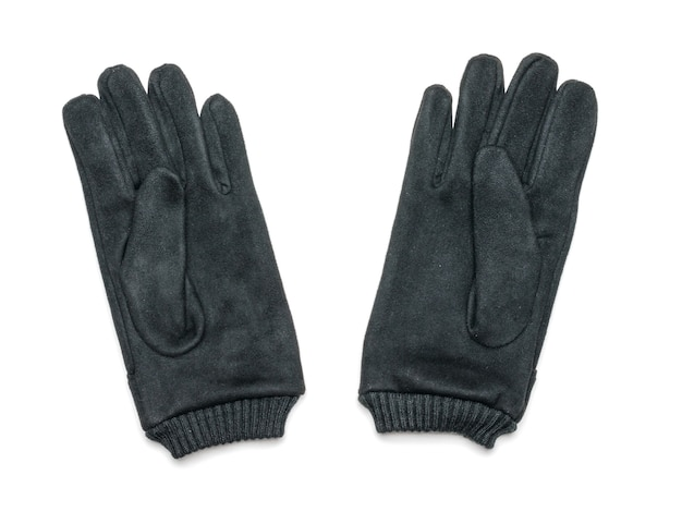 A pair of black suede gloves isolated on white Premium Photo