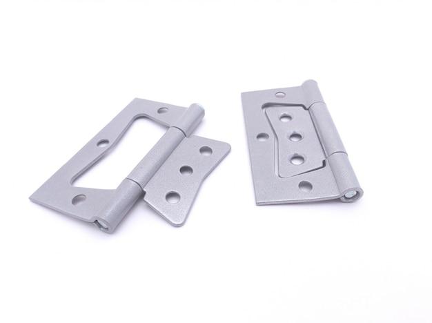 Pair of hinges for door on white background Premium Photo