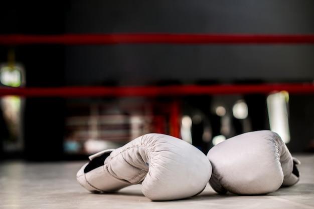 白いボクシング用グローブのペア Premium写真
