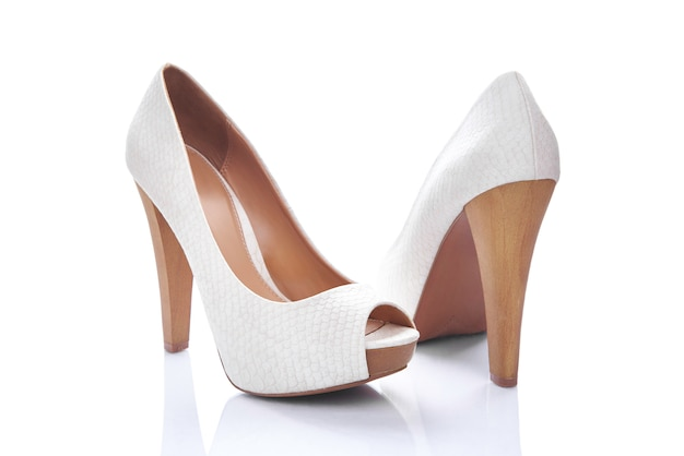 Pair white heel Premium Photo
