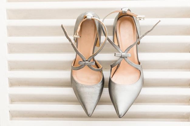 Pair of white wedding shoes for women Premium Photo