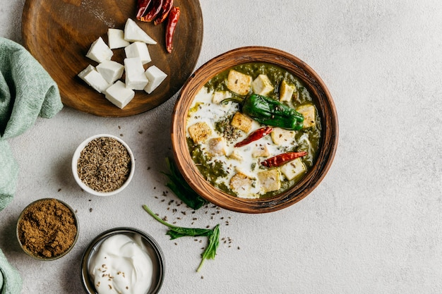 パキスタン料理の配置上面図 無料写真