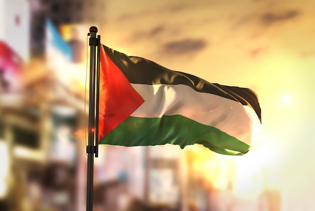 Palestine flag against city blurred background at sunrise backlight Premium Photo